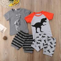 2Pcs Toddler Kid Baby Boy Dinosaur Top T-shirt Short Pants Outfit Clothes Summer