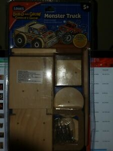 Build and Grow Kids Beginner Build Monster Truck Project Kit Customize Lowes NIB
