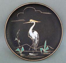 Kleine runde Ruscha Keramik Wandbild Platte Ø14cm Dekor Reiher 50er 60er Jahre