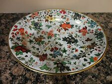 VINTAGE DAHER DECORATED WARE METAL FLORAL GOLD TRIM OVAL TRAY PLATE ENGLAND
