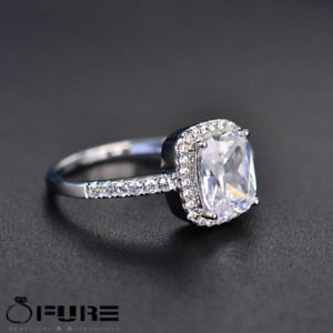 Women S925 Sterling Silver Filled Big Square Stone CZ Crystals Engagement Rings
