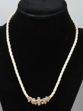 Jessica Simpson Rose Goldtone Silvertone Crystal Rondelle White Cord Necklace