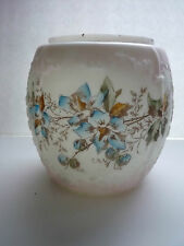 "ANTIQUE WAVE CREST OPALWARE EMBOSSED FLOWERS 6"" TALL BISCUIT JAR BOTTOM"