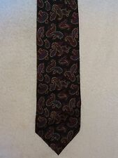 Used Mens Necktie- Reed St. James- 100% Silk- Black With Paisley- Made in USA