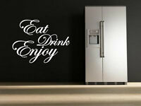 'Eat Drink Enjoy' Quote vinyl stickers wall decorations mural decal 40cm x 55cm