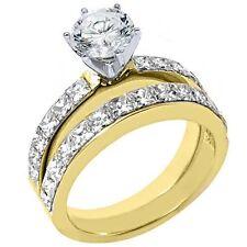 WOMENS DIAMOND ENGAGEMENT RING WEDDING BAND BRIDAL SET ROUND CUT 18K YELLOW GOLD