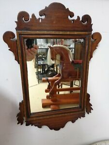 Antique Mahogany Inlaid Mirror - Georgian Fretwork Style