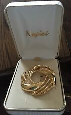 "Napier Classic Gold Tone Swirl Design Round Pin Brooch,Approx 1 7/8"" Dia, In Box"