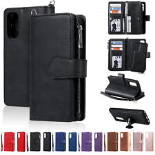 2 In 1 Magnetic Car Bracket Zipper Card Wallet Flip Case Cover For Various Phone
