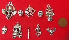 10 x Antique Silver Halloween Skeleton Spider Gothic Charms Beads & Pendants B4
