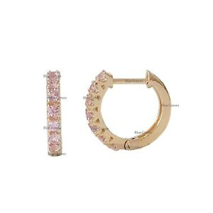 14k Solid Yellow Gold Pink Sapphire Hoop Earrings Fine Anniversary Gift Jewelry
