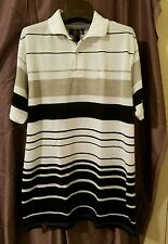 Mecca Polo Short Sleeve Shirt White with Black and Tan Striped, Mens Size M.
