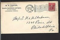 LYNCHBURG, VIRGINIA COVER,1905, W.B. FOSTER, GROCERIES,CONFECTIONERS.