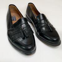 Men's Bostonian Florentine Black Leather Tassel Loafers Shoes Size 10 M