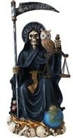 Santa Muerte Saint of Holy Death Seated Religious Statue 9 Inch Purification