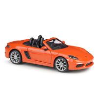 Bburago 1/24 Scale Porsche 718 Boxster Orange Diecast Cars Model Kids Toys