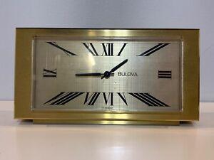 Vtg Bulova Rectangular Gold Colored Decorative Electric Desk Clock Nonfunctional