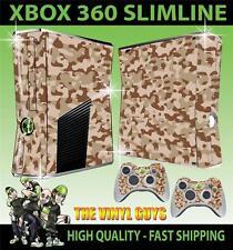 Xbox 360 Slim Camouflage Désert Camouflage Armée Autocollant peau & 2 pad skins