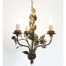 Lampadario in ferro e foglie a 3 luci