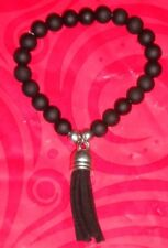 Fashion Jewellery. Black Rubber Bead Stretch Bracelet With Black Leather Tassel.