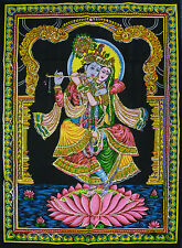 Indian Radha Krishna Lotus Sequined Wall Hanging * Fair Trade * Large