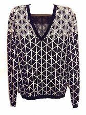 Versace Black White Stripes Cotton Men's Stylish V-Neck Italy Sweater Sz 3XL