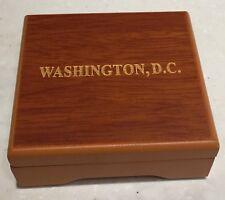 CHALLENGE COIN WOOD BOX Empty GOLD EAGLE PRESIDENT SEAL WASHINGTON DC HINGED