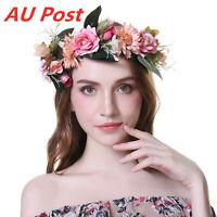 Adjustable Flower Crown Headband Garland Large Hairband Wedding Ribbon for Women