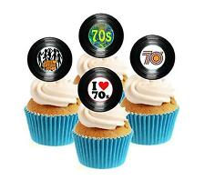 Novedad 70's Party Vinilo Colección 12 Comestibles Stand Up Oblea papel Cake Toppers