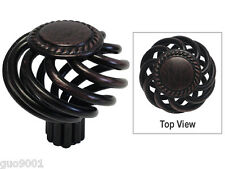 Oil Rubbed Bronze Sun Flower Kitchen Bathroom Cabinet Birdcage Knob 1 3/8""