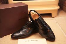Louis Vuitton para hombres Cuero Negro Zapatillas Zapatos Estilo Brogue UK 6