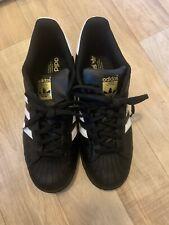Adidas Originals Superstar trainers in black/gold/white - size 9 VGC
