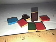 "Vintage Miniatures Dollhouse Set of 7 ""Leather"" bound & Paper Library Books"