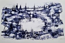 "MAX GUNTHER Original 1963 PENCIL-SIGNED LITHOGRAPH London Waterway Blue ""60/60"""