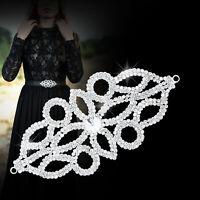 150mmX75mm Silver Rhinestone Diamante Motif Sew on Wedding Crystal Applique