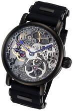 Rougois Tattoo Black Mechanical Skeleton Watch - Silicone Band