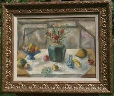 Still Life with Green Vase 20 x 26 Oil Painting-Oil Painting-1954-Samuel Brecher