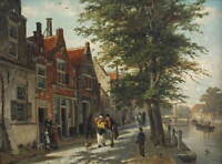 Cornelis Springer A view of the brouwersgracht haarlem Giclee Canvas Print