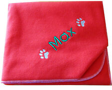 Spoilt Rotten Pets Personalised Cosy Paw Red Dog Bed Blanket 90 x 70 cm