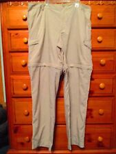 Womens COLUMBIA PFG Omni-Shade Beige Hiking Zip Cargo Combo Shorts/Pants Sz XL
