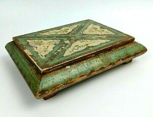 COFANETTO antica Scatola in legno Portagioie vintage decorata stile Veneziano