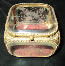 ancienne boite à bijoux coffret verre biseaute à décor de fleurs nap. III - XIXe