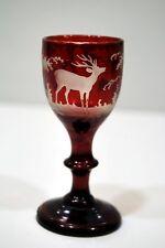 PETIT VERRE à LIQUEUR 19è verre BOHÊME paysage chasse cerf 1880 h 9 cm