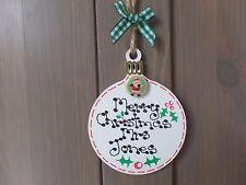 Buon Natale Insegnante Personalizzato Bauble TREE DECORATION Regalo Etichetta Targa Sign