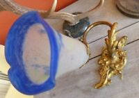 Superbe ancienne applique bronze doré Rocaille tulipe Pâte de verre 1900 Rare