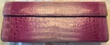 Nancy Gonzalez Fold Over Pattern Purple Crocodile Skin Leather Clutch NWT