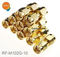 10-Pack SMA RF Adapter Male/Male Gold Coupler Gender Changer, RF-M102G-10