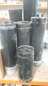 "black vitreous enamelled 6"" (150mm) and some 5""(125mm) single skin flue pipe"