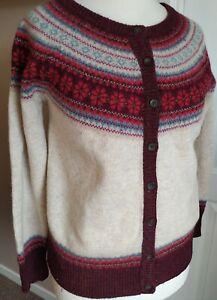 Gorgeous Nordic Fair Isle 80% Wool Cardigan Neutral Size 14 Long Sleeve