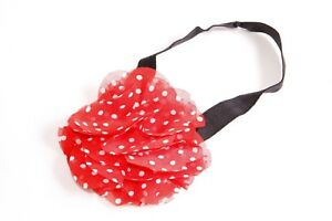 Girly 80's Style Black Elastic Headband with Red Polka Dots Print Flower (S424)